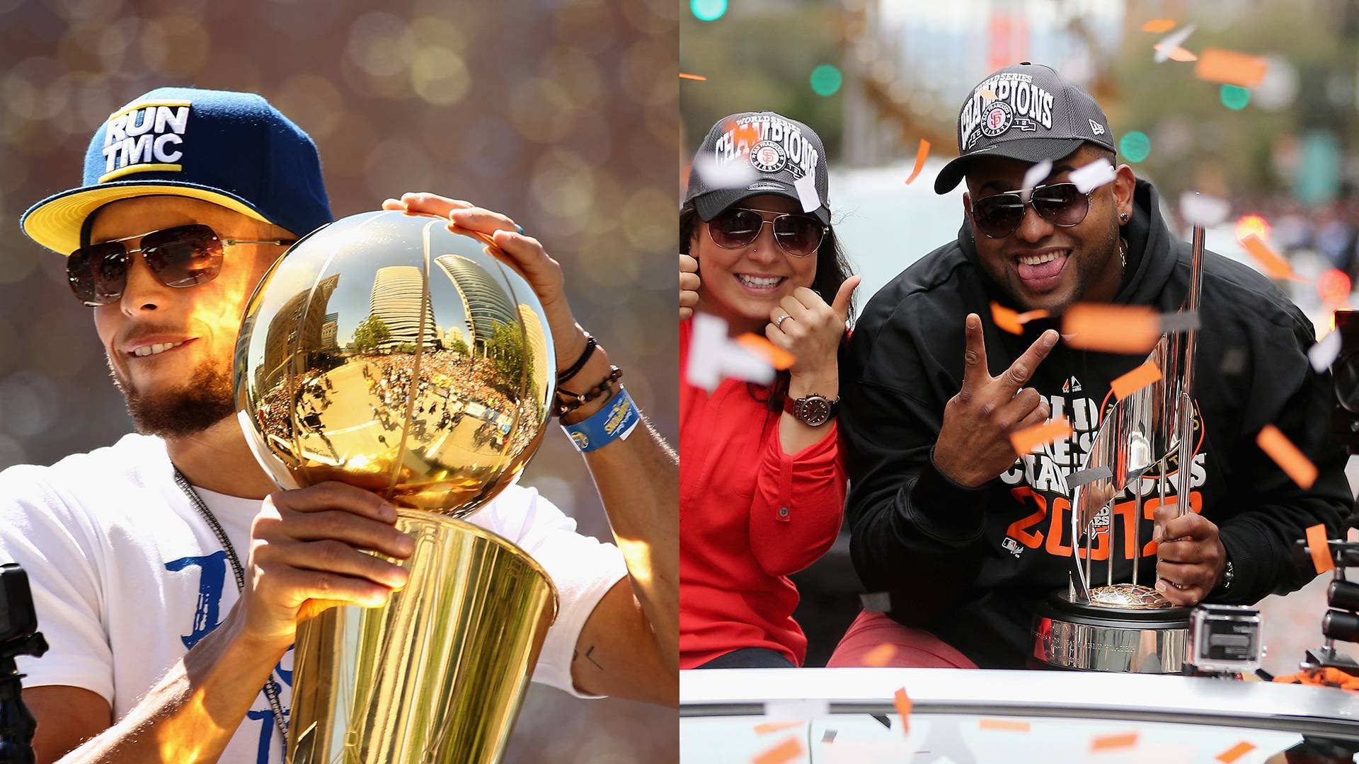 Left: Steph Curry at the Golden State Warriors victory parade in Oakland in 2018. Right: Pablo Sandoval at the San Francisco Giants World Series victory parade in 2012. Ezra Shaw/Getty Images
