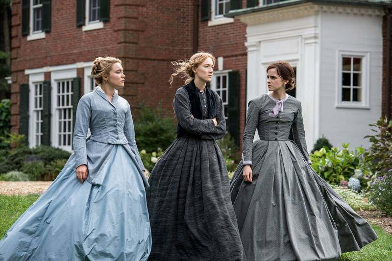 "Florence Pugh, Saoirse Ronan and Emma Watson in Greta Gerwig's ""Little Women."""