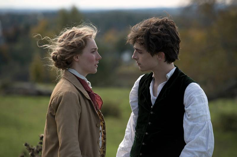 "Saoirse Ronan and Timothée Chalamet in Greta Gerwig's ""Little Women."""