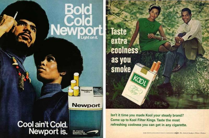 Newport and Kool cigarette ads.