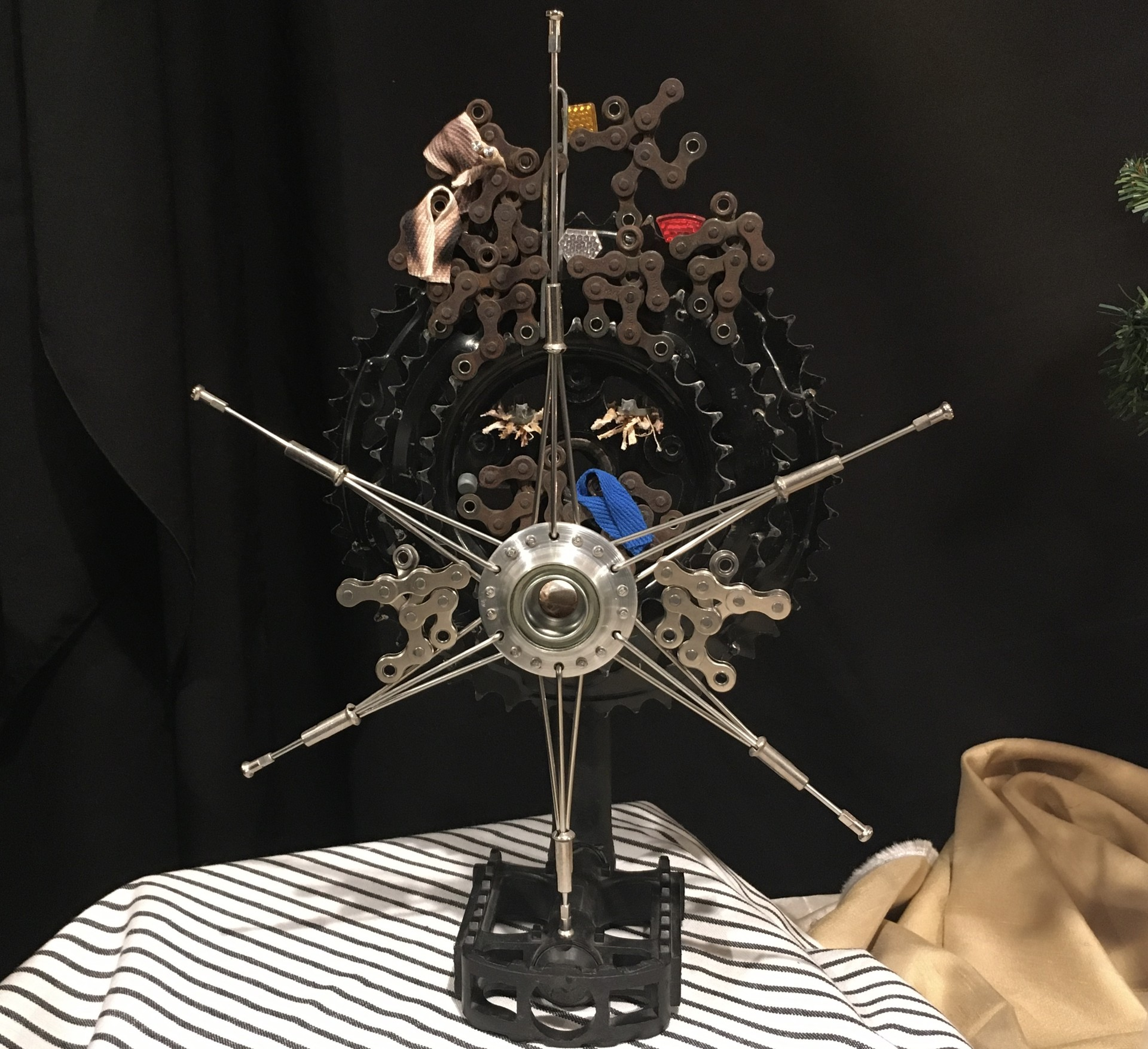 "This nativity scene, constructed from bicycle parts, is called """"The hopes and fears of all the gears."""
