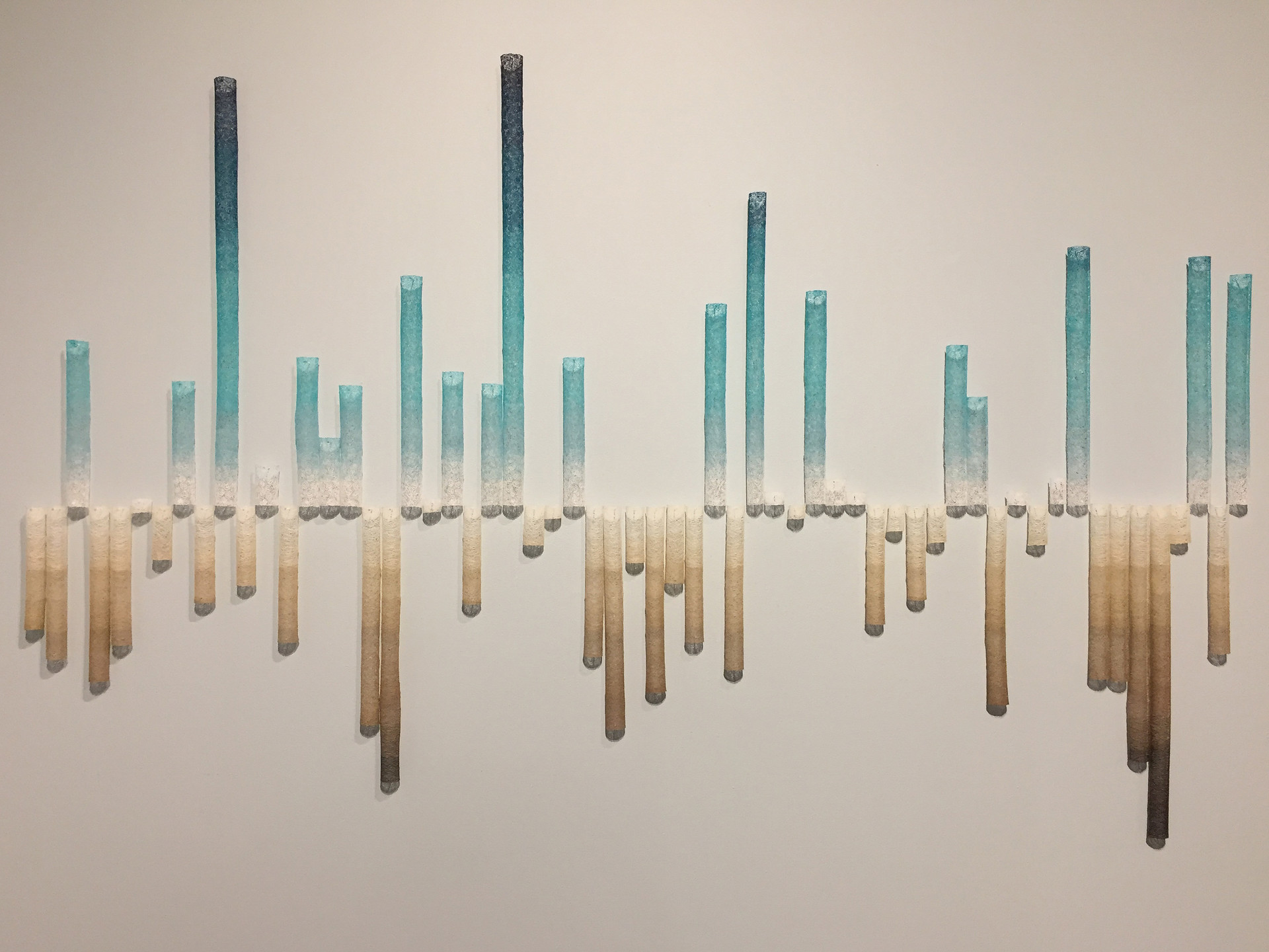 "Some day there may be no more snow: California snowpack 1959 – 2019, by Linda Gass; thread lace installation (Cotton, rayon and clear polyester monofilament thread, dissolvable stabilizer, fabric stiffener, magnets, nails). Part of the exhibition ""And Then This Happened..."" at the Museum of Craft and Design in San Francisco."