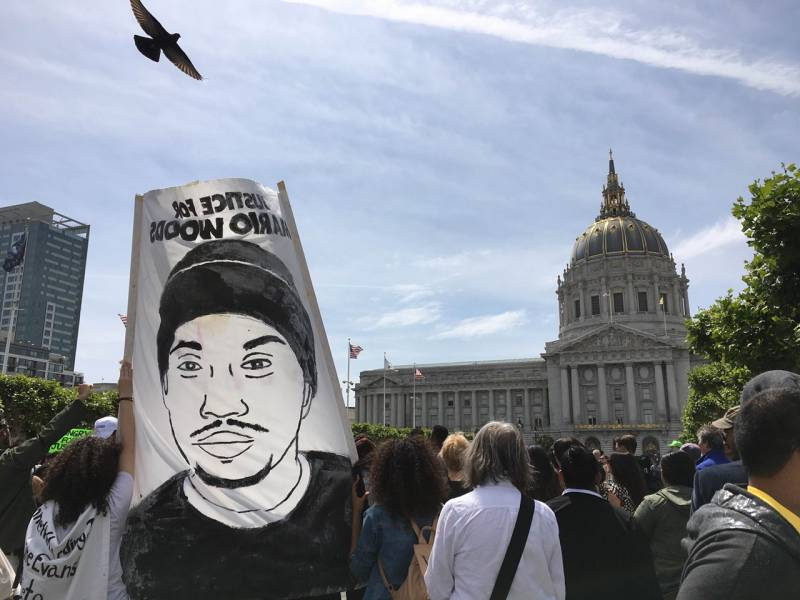 Thousands of protesters joined the Frisco 5 in a march to San Francisco City Hall in May 2016.