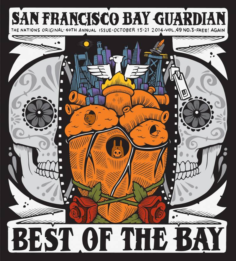 "Cover shows newspaper name and ""best of the bay"" title, with an illustration of a skull split in half by an orange human heart."