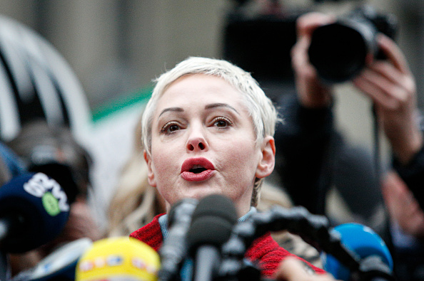 Rose McGowan speaks to the media outside court on January 6, 2020, New York City.