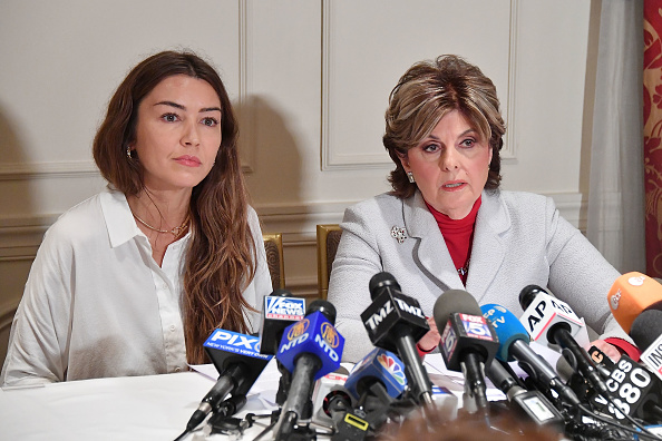 Mimi Haleyi (L) and Attorney Gloria Allred speak during a press conference, October 2017, New York City.