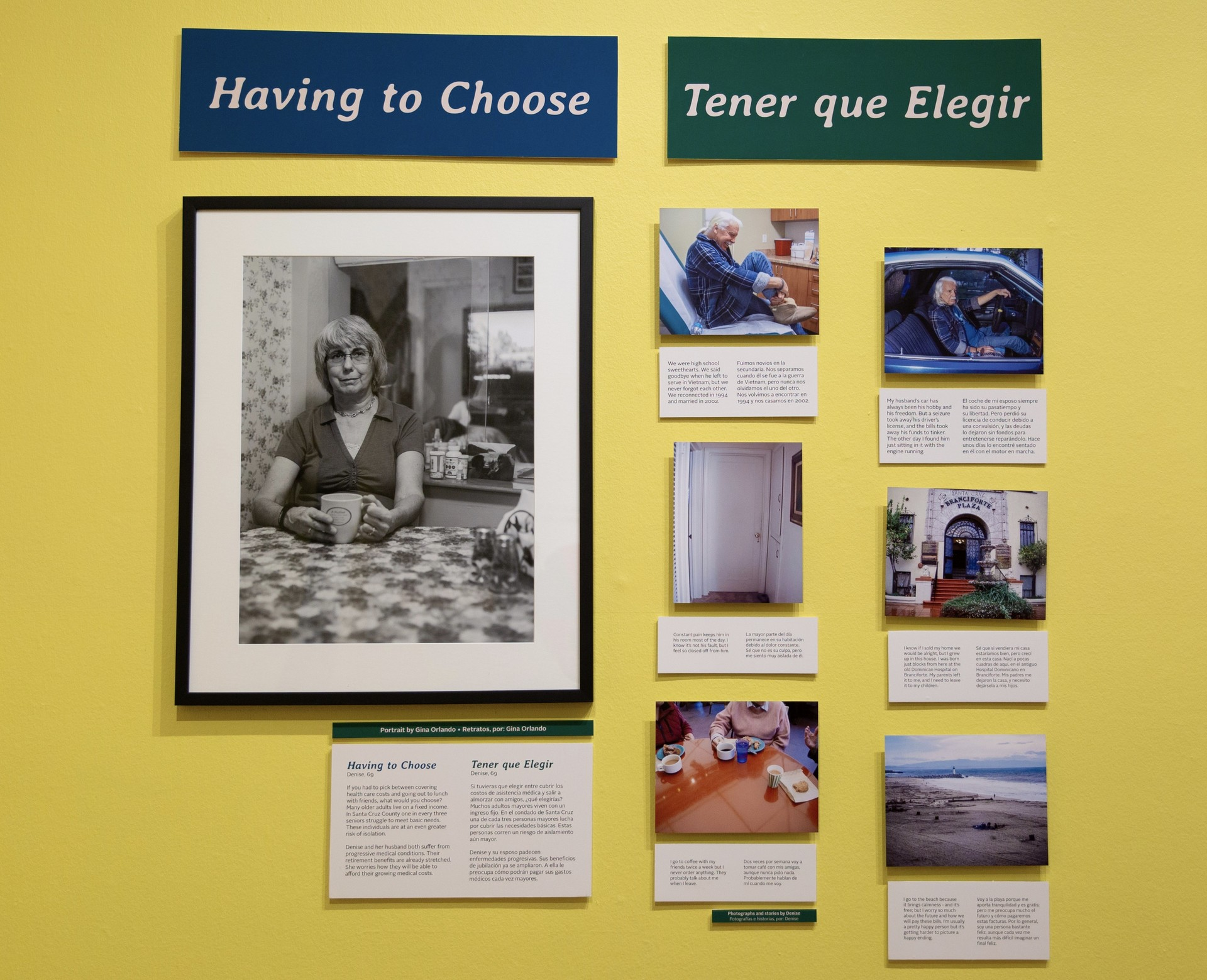 """Having to Choose/Tener que Elegir"" tells the story of 69 year-old Denise a senior profiled by Santa Cruz artist Gina Orlando for the exhibit We're Still Here at the Santa Cruz Museum of Art and History."