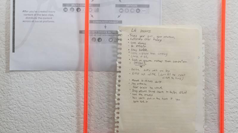 Motivational reminders in Savage Mind's studio.