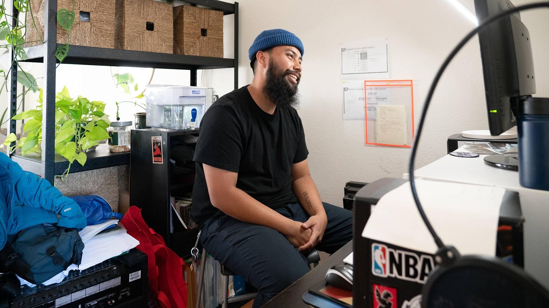 Savage Mind, aka Abraham Padilla, at his home studio in Oakland. Graham Holoch