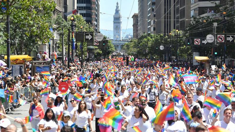 People march during the San Francisco gay pride parade in San Francisco, California on June, 24, 2018
