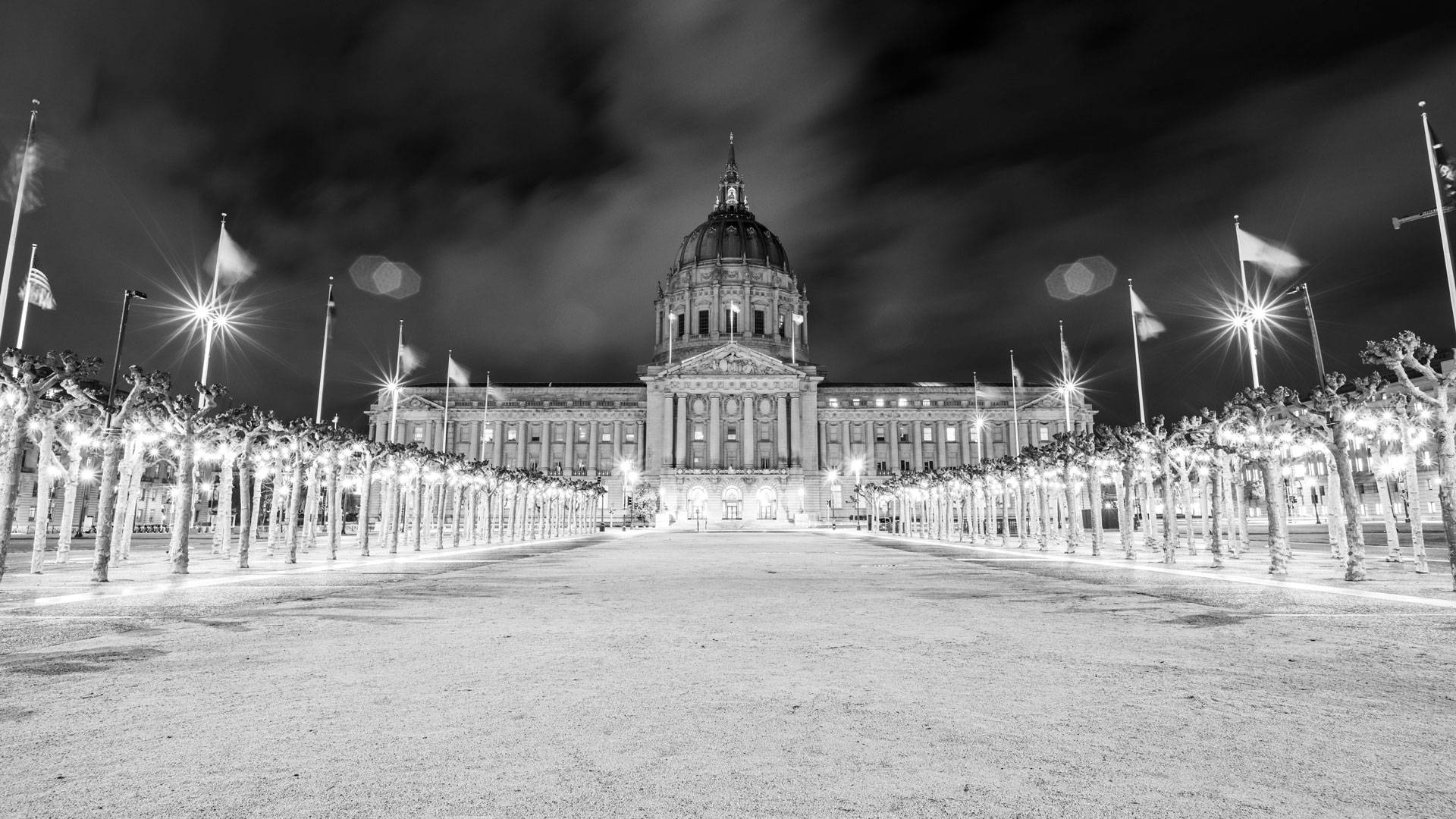 An eerily empty Civic Center, featuring an unlit City Hall on March 15, 2020. Beth LaBerge/KQED