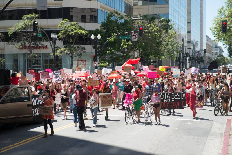 Sex Workers and their allies at an International Sex Workers Day demonstration in downtown Oakland in 2018.