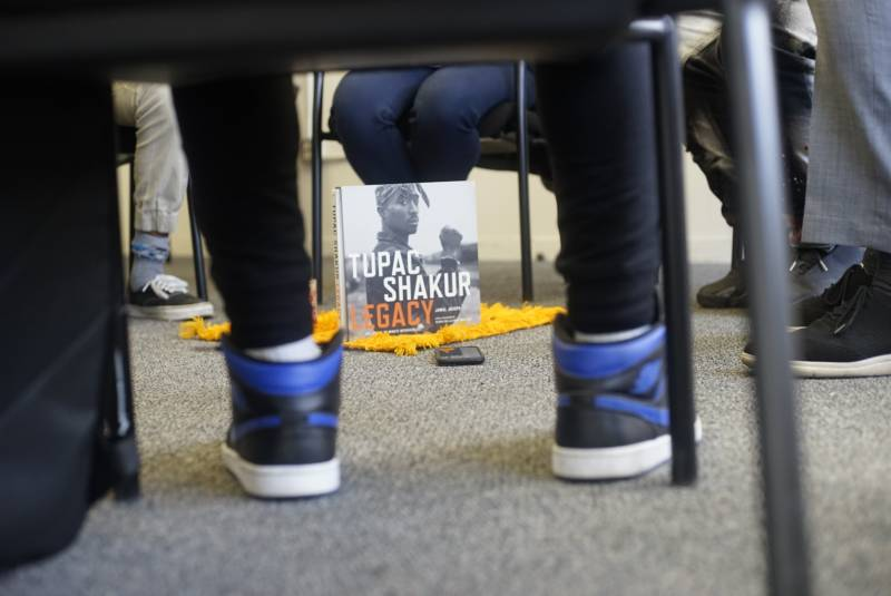 Shoes and Shakur. Some of the items inside of the Restorative Justice Circle.