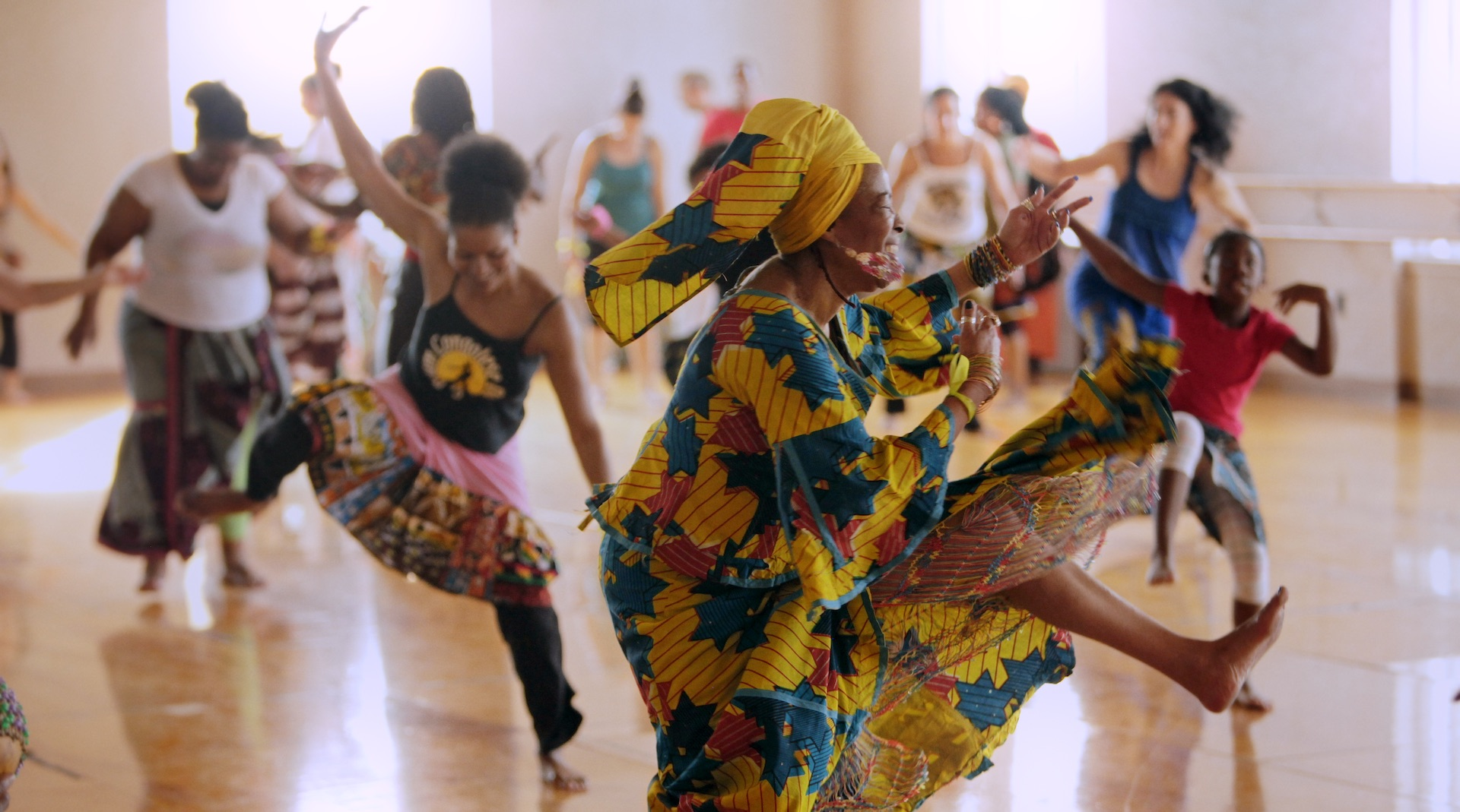 The Diamano Coura West African Dance Company rehearses at the Malonga Casquelourd Center for the Arts.