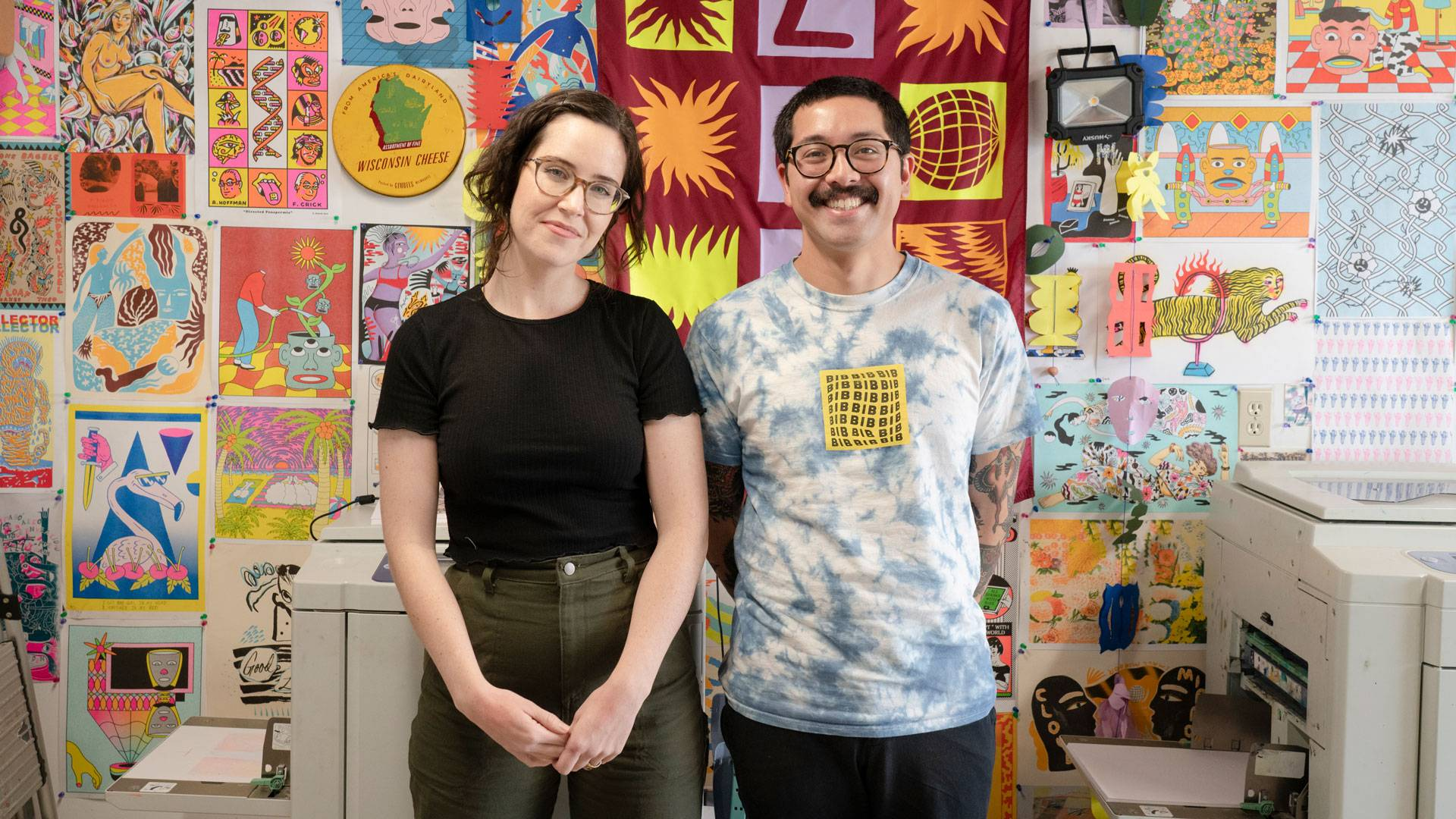 Meg Fransee and Aaron Gonzalez in their garage, which doubles as Floss Editions' Risograph printing operation. Graham Holoch/KQED