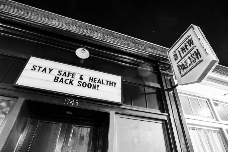 "The New Parish in Oakland sits empty as the Bay Area adopts a ""shelter in place"" policy to curb the spread of coronavirus."
