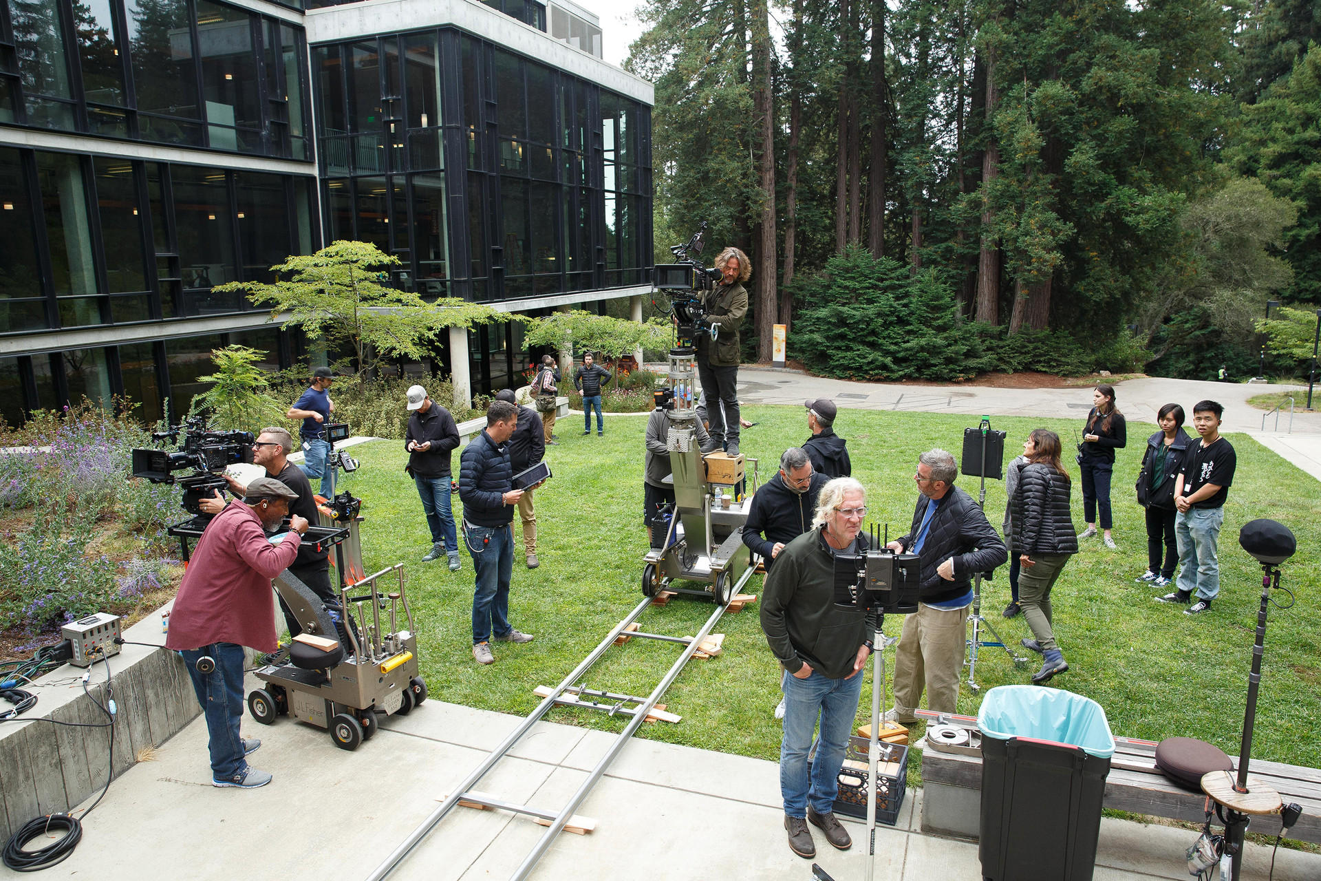 The crew of the FX TV series Devs shoots a scene on the campus of UC Santa Cruz