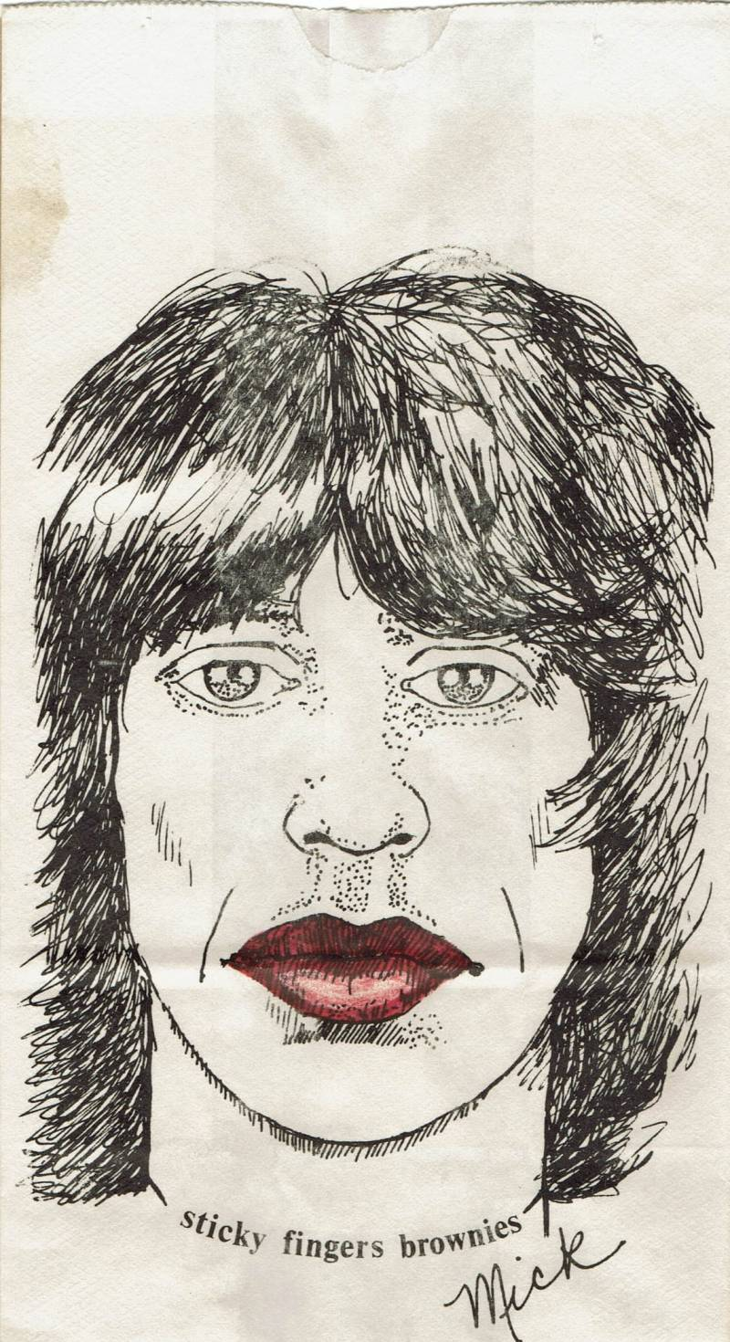 """Illustration of Mick Jagger with the words """"Sticky Fingers Brownies"""""""