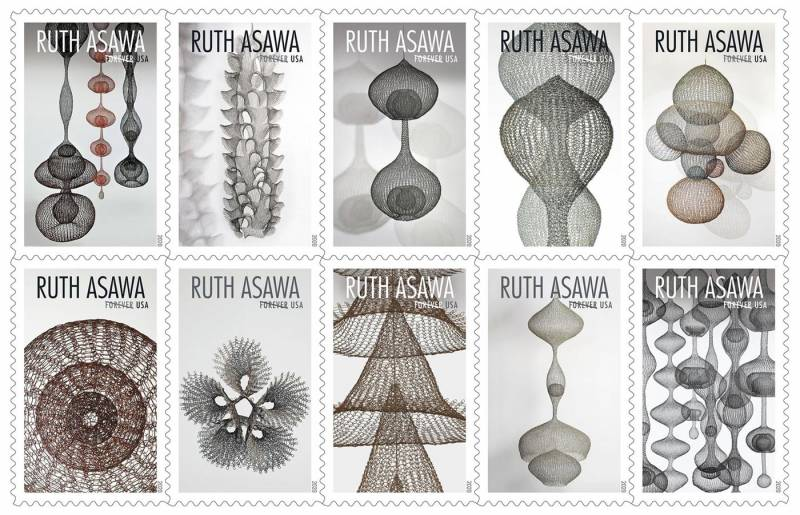 Forthcoming stamps featuring the wire sculpture of Ruth Asawa.