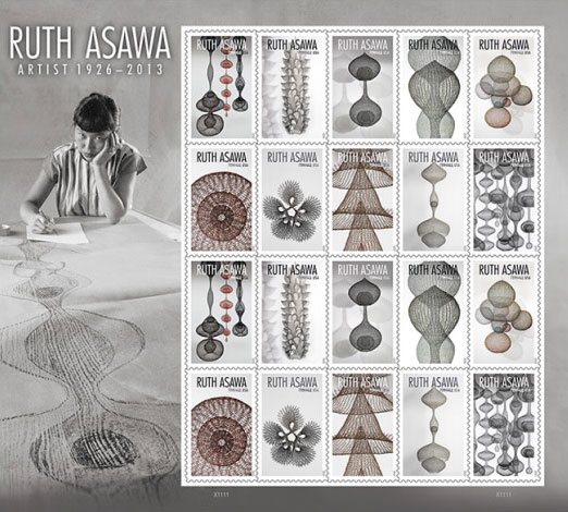 Stamps featuring the wire sculpture of Ruth Asawa.