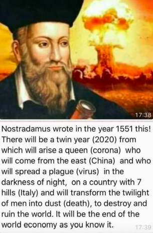 nostradamus and coronavirus prediction