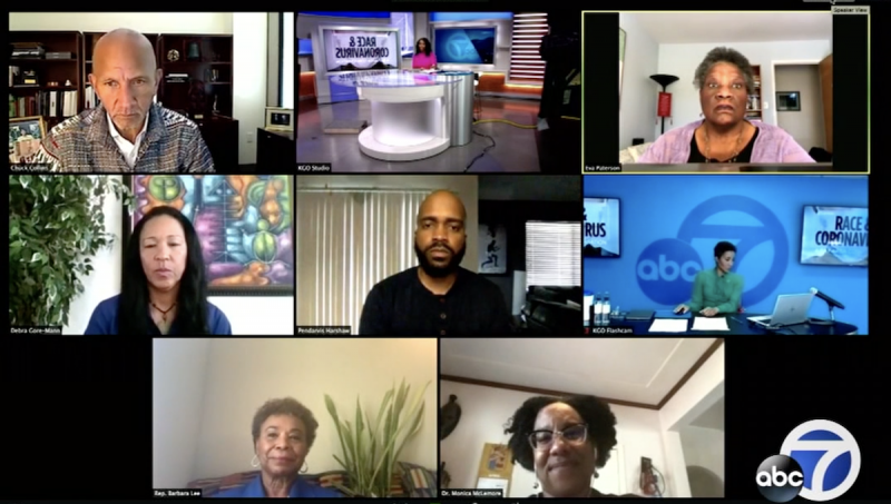 An April 30 broadcast on ABC 7 featured the author with UCSF Associate Professor Dr. Monica McLemore, Congresswoman Rep. Barbara Lee, President and CEO of the YMCA of San Francisco Chuck Collins, President and Co-founder of Equal Justice Society Eva Patterson, and President and CEO of Greenlining Institute Debra Gore-Mann.