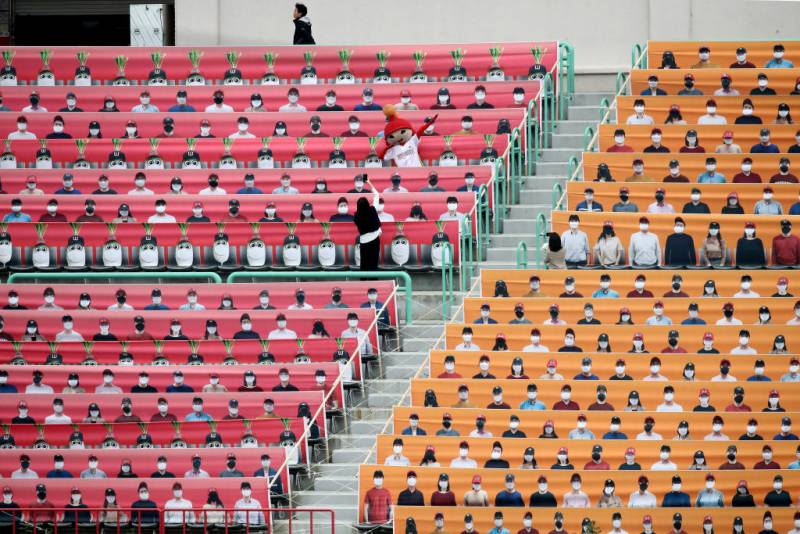 The stands at the empty SK Happy Dream Ballpark at the KBO League's opening game between SK Wyvern and the Hanwha Eagles. May 05, 2020 in Incheon, South Korea.