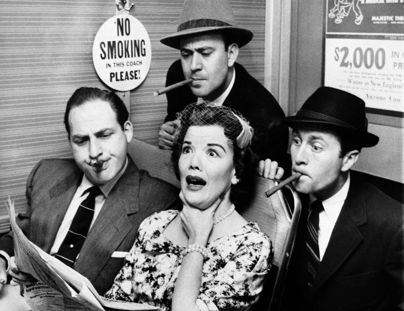 Reiner (top center), Sid Caesar (left), and Howard Morris bother railroad commuter Nanette Fabray on an episode of the sketch comedy show 'Caesar's Hour' in 1955.