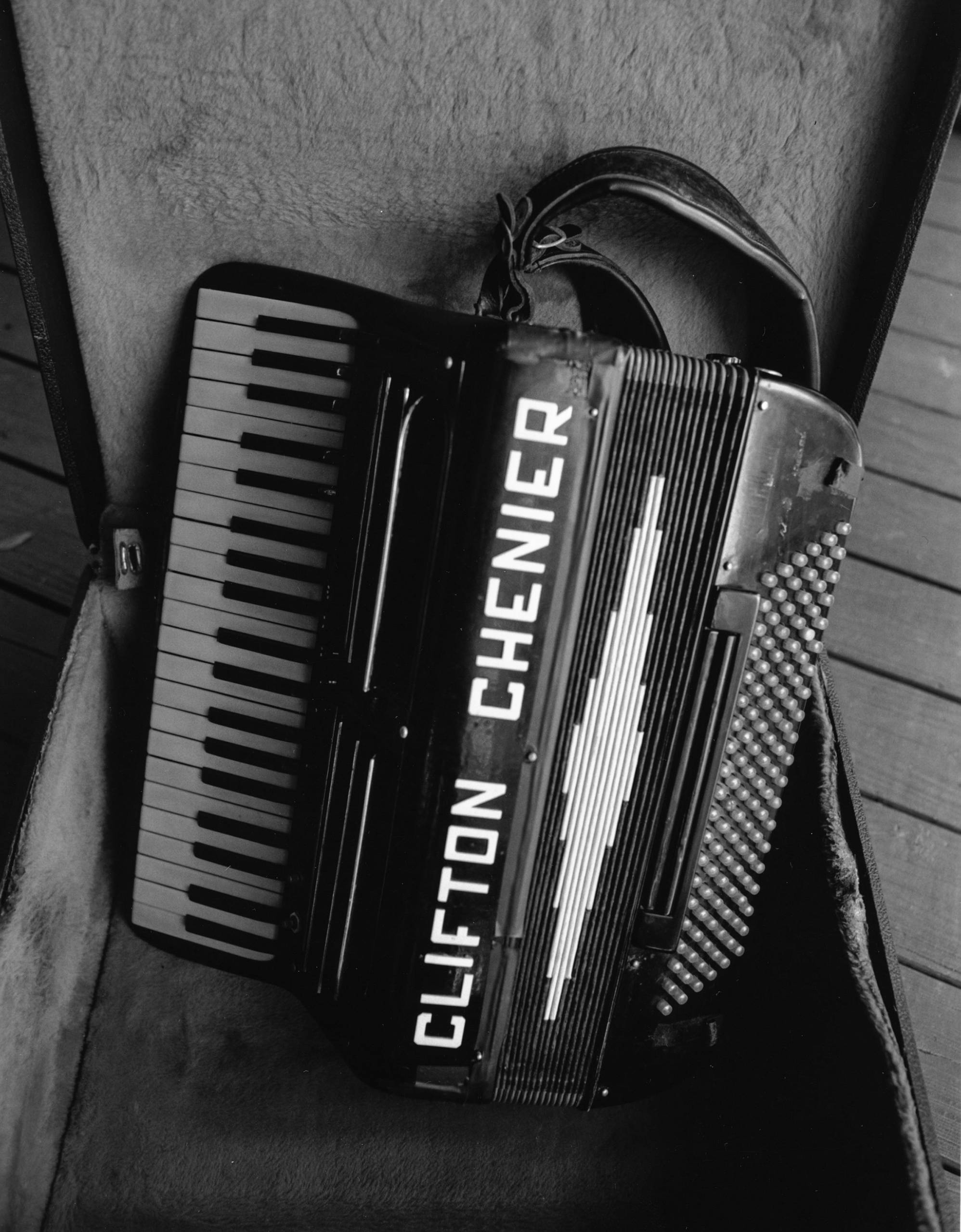 "Clifton Chenier's Accordion (Photograph by James Fraher, from the books ""Texas Zydeco"" and ""Down in Houston: Bayou City Blues"" by Roger Wood, University of Texas Press)"