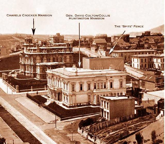 Portion of a panoramic photograph, taken in April 1878 by Eadweard Muybridge, showing the spite fence constructed by Charles Crocker around Nicolas Yung's home.