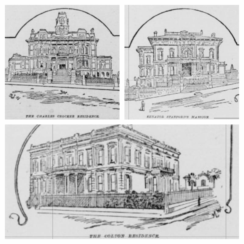 The Crocker, Stanford and Colton mansions, as illustrated in an 1891 edition of San Francisco's 'Morning Call' newspaper.