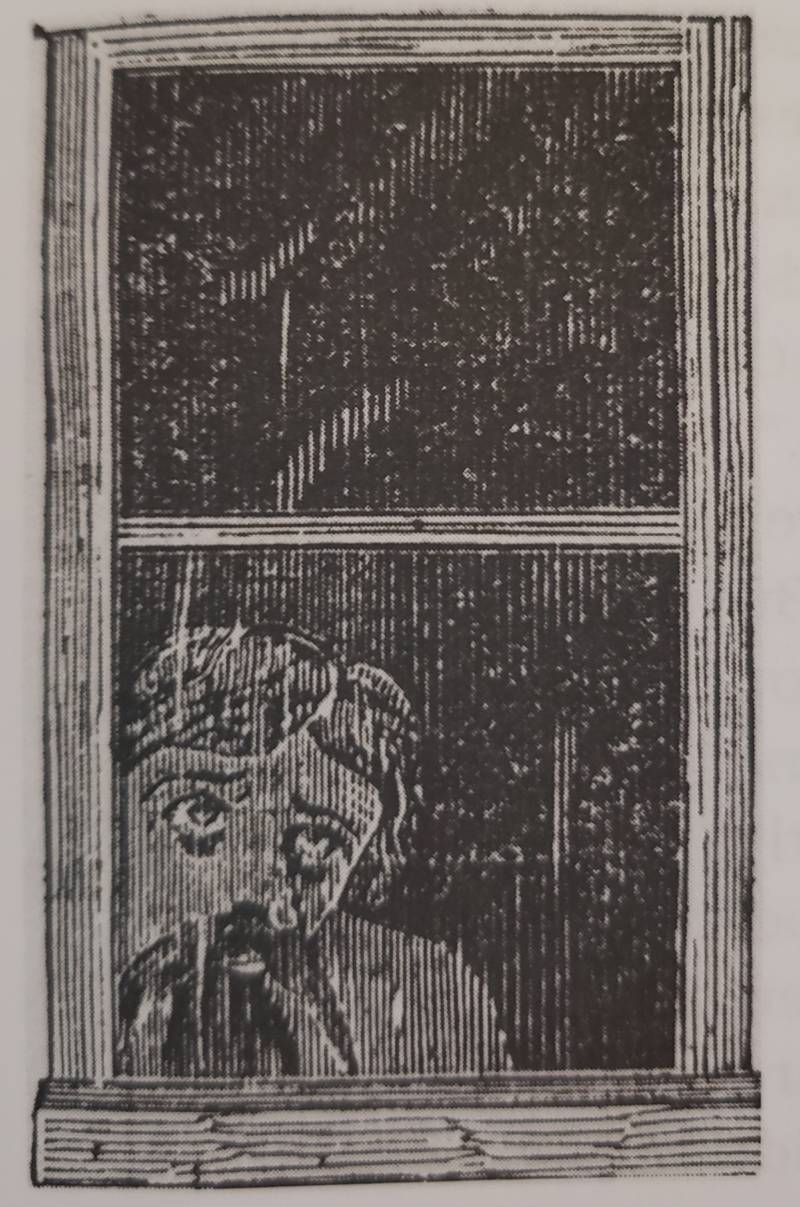 The artist's rendering of the window apparition, as seen in the San Francisco Chronicle on Saturday, Dec. 10 1871.