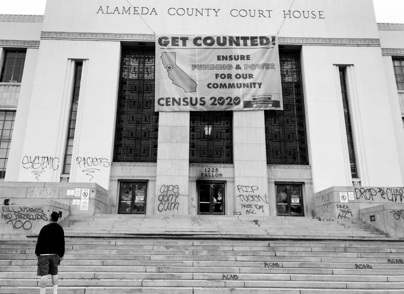The Alameda County Courthouse on July 26, 2020, after being spray-painted and torched by protesters.