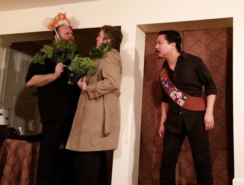 Dave McKew, Mikl-em, and Cameron Eng in Gaea Denker's 'Fabulous Expectations,' (performing in Dot Janson's living room), in 2015.