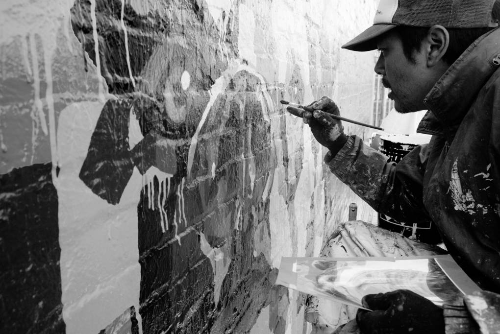 Chad Hasegawa painting 'Kachusha the American,' 2020 above Blessings Ministries.  Barrett Moore