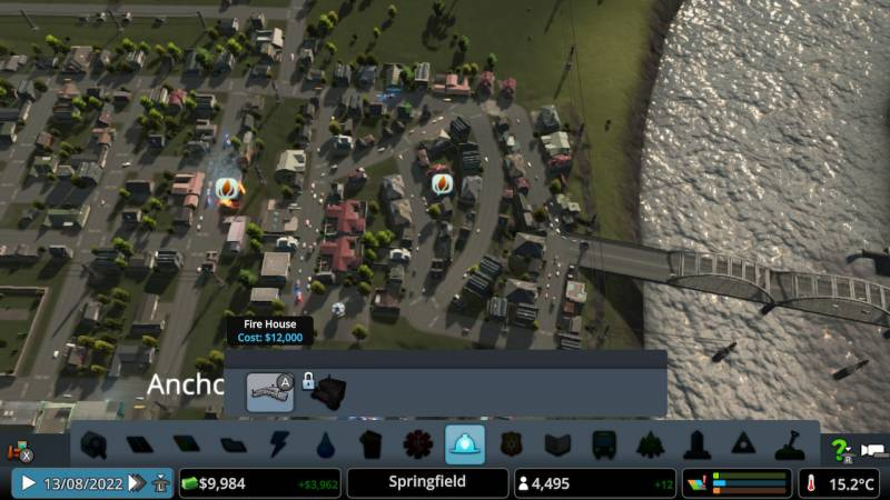 This is a shot of only one of many very very bad traffic configurations I created in Cities: Skylines. Yes, two houses are on fire.