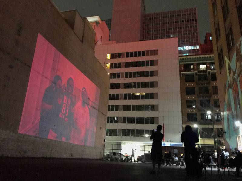 Grand Nationxl screens the visuals that accompany their album Twice on Sunday.