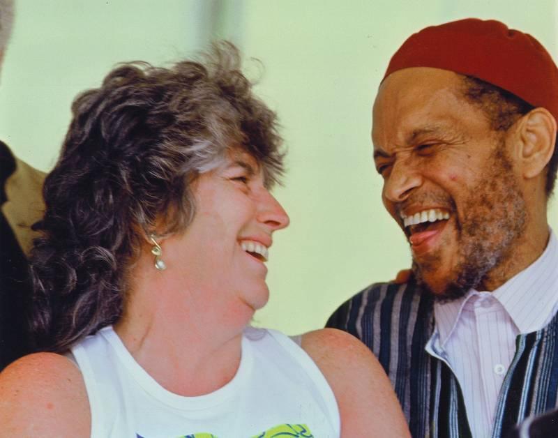 Jessica Felix with drummer Billy Higgins during the 1999 Healdsburg Jazz Festival.