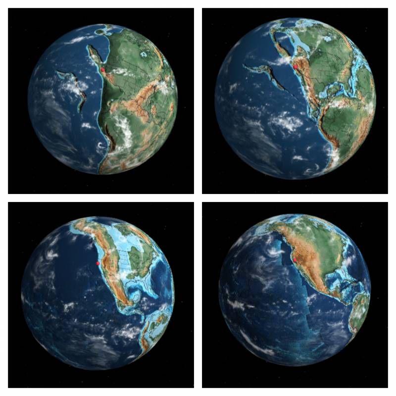 San Francisco and Oakland represented by the same red dot: Top L-R, 240 million and 170 Million years ago. Bottom L-R: 90 million and 20 million years ago.