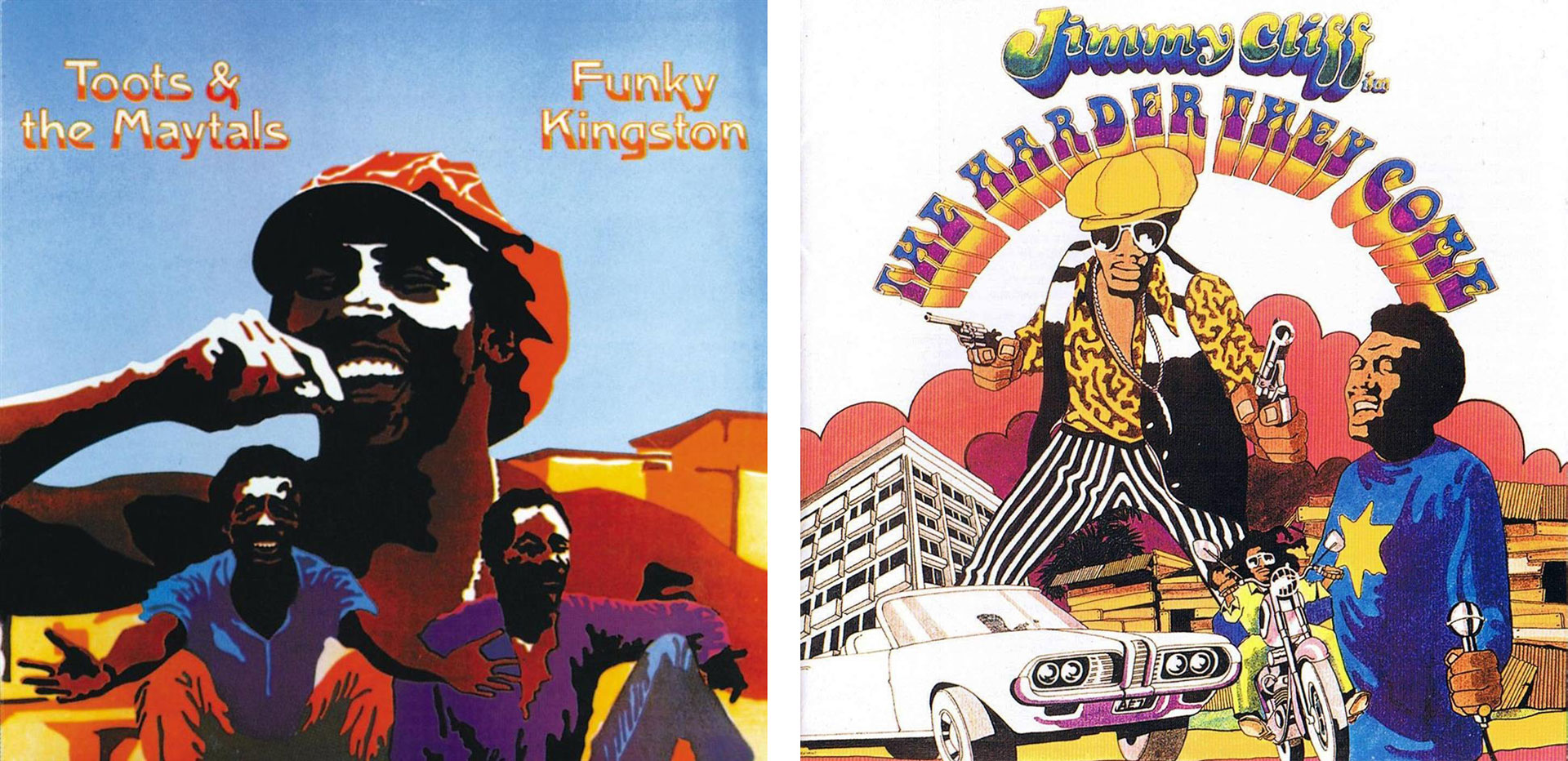 Early moments for Toots and the Maytals' popularity included the albums 'Funky Kingston' (L) and the soundtrack to 'The Harder They Come' (R).