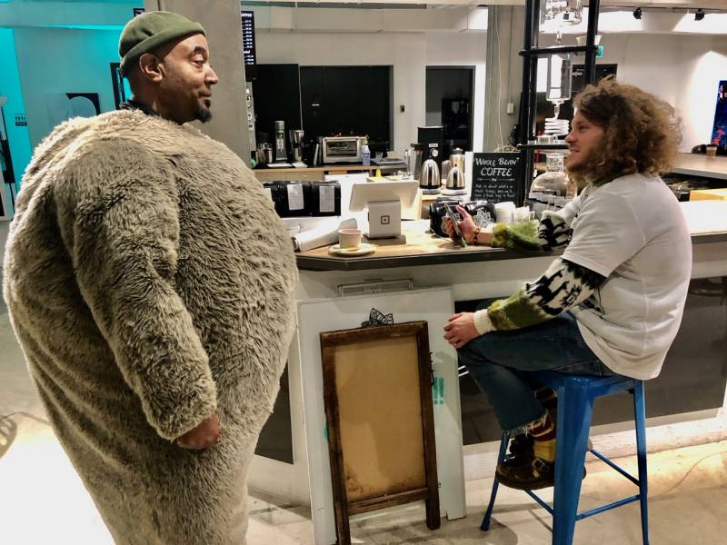 Keith Knight in a koala suit with Blake Anderson
