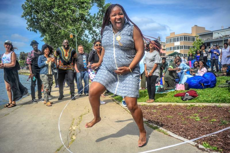 Photographer Denis Ivan Perez Bravo took this photo of a pregnant woman double dutching during the Barbecuing While Black festival.