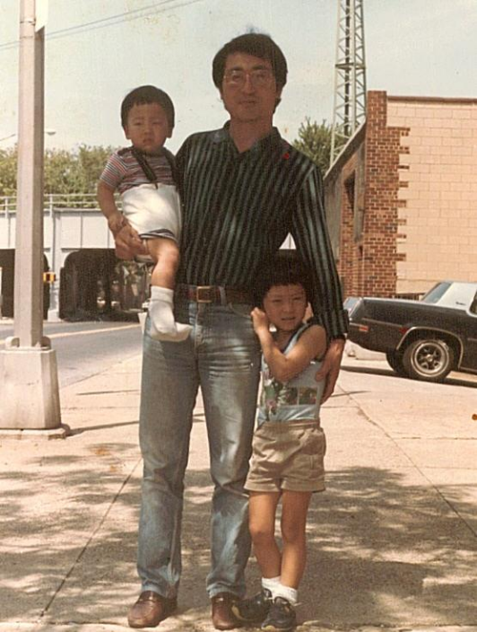 Jason Chung, pictured with his brother and father Kee Sun Chung in Woodside around 1983.