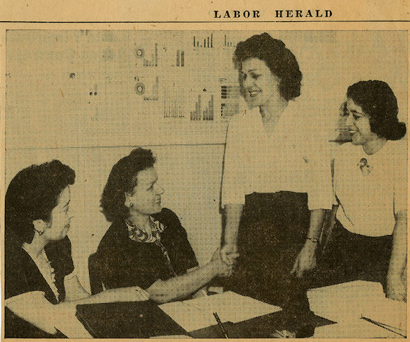 """A photo from the July 9, 1943 issue of 'The Labor Herald' touted """"CIO Women Organizers."""" Helene Powell can be seen on the far right, alongside fellow union organizers: (L-R) Freda Cassa, Loretta Starvus and Irene Sparks."""