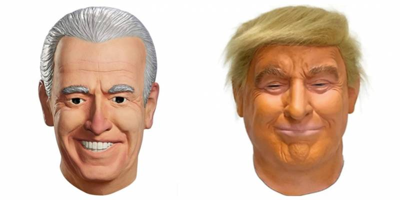 Latex masks in the likeness of Joe Biden and Donald Trump.