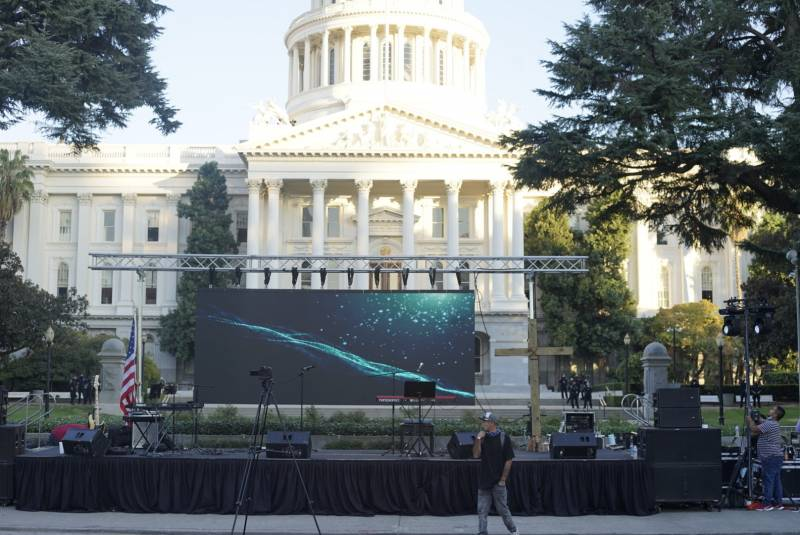 The stage is set for a pro-Trump rally in front of the California State Capitol building in Sacramento.