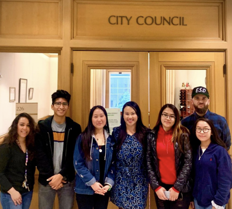 Student advocates and Lukas Brekke-Miesner (pictured in the ESO hat) meet with Council Member Sheng Thao in Oakland