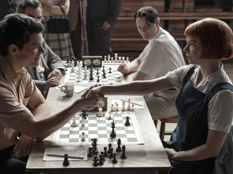 Beth (Anya Taylor-Joy) destroys an opponent (Jacob Fortune-Lloyd) in 'The Queen's Gambit.'