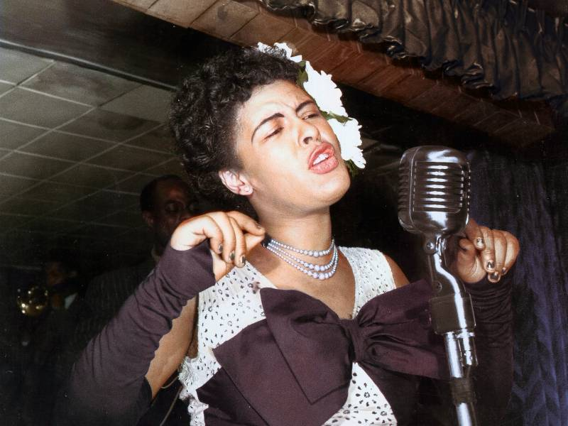 Billie Holiday performs in New York City's Club Downbeat, in 1947.