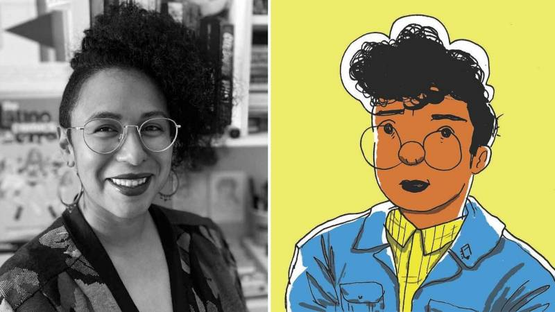 On the left is a black and white portrait of Cartoonist Breena Nuñez smiles for a photo while wearing glasses and sitting at a desk. On the right is a cartoon of Breena with a yellow background, a yellow shirt, a blue jacket and big round glasses.